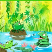 cuento ranas charca camino